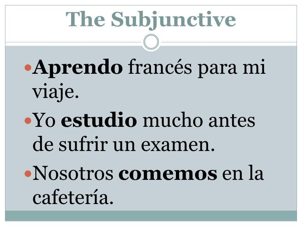 The Subjunctive Aprendo francés para mi viaje.Yo estudio mucho antes de sufrir un examen.