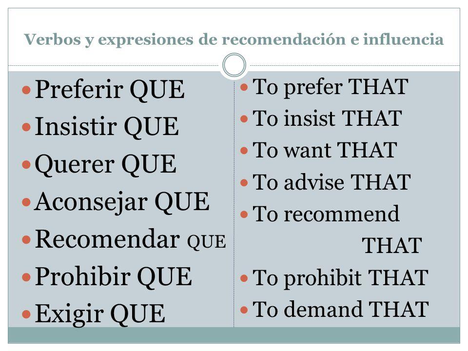 Verbos y expresiones de recomendación e influencia Preferir QUE Insistir QUE Querer QUE Aconsejar QUE Recomendar QUE Prohibir QUE Exigir QUE To prefer THAT To insist THAT To want THAT To advise THAT To recommend THAT To prohibit THAT To demand THAT
