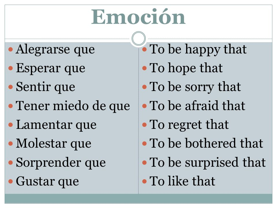 Emoción Alegrarse que Esperar que Sentir que Tener miedo de que Lamentar que Molestar que Sorprender que Gustar que To be happy that To hope that To b