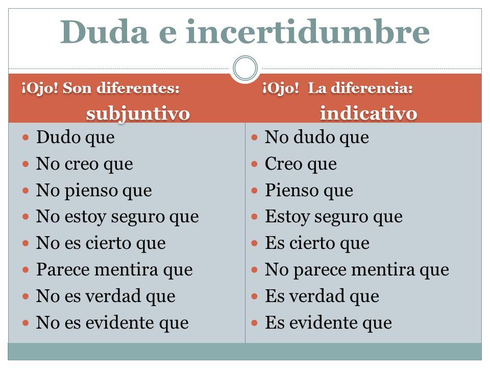 ¡Ojo. Son diferentes: subjuntivo ¡Ojo. Son diferentes: subjuntivo ¡Ojo.