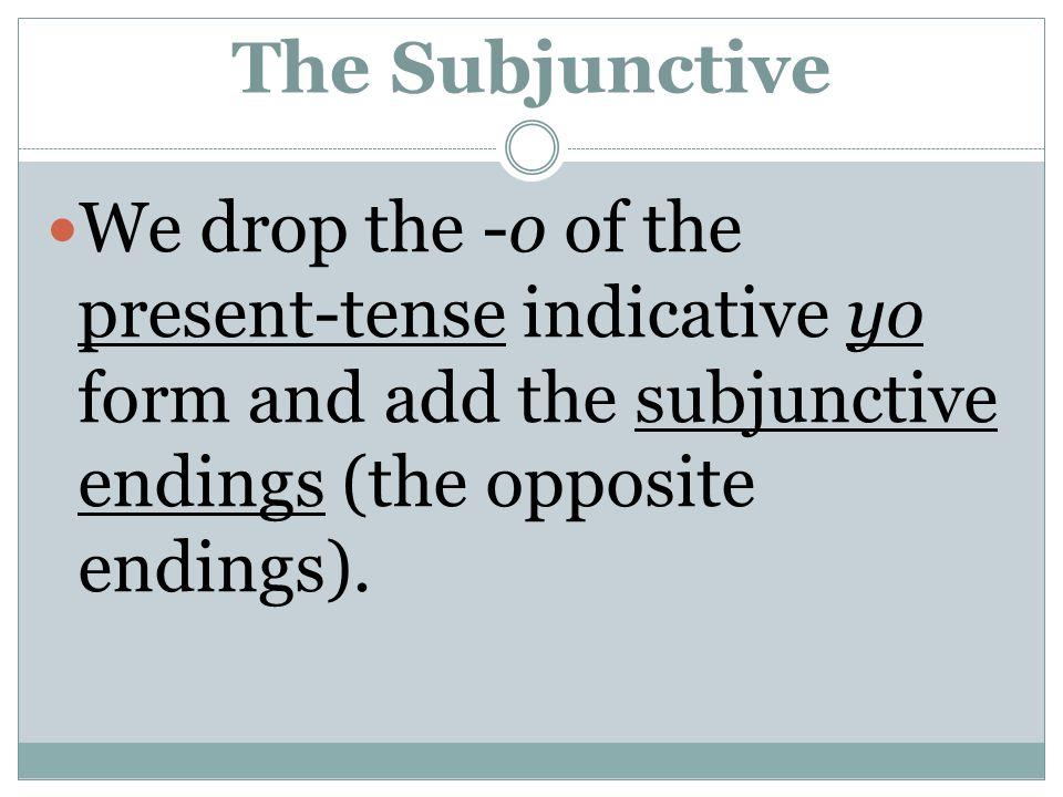 The Subjunctive For -ar verbs: e emos es éis e en For -er/-ir verbs: a amos asáis aan