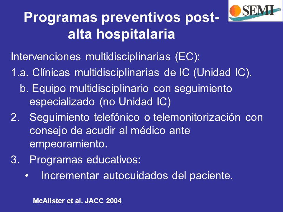 Intervenciones multidisciplinarias (EC): 1.a. Clínicas multidisciplinarias de IC (Unidad IC). b. Equipo multidisciplinario con seguimiento especializa