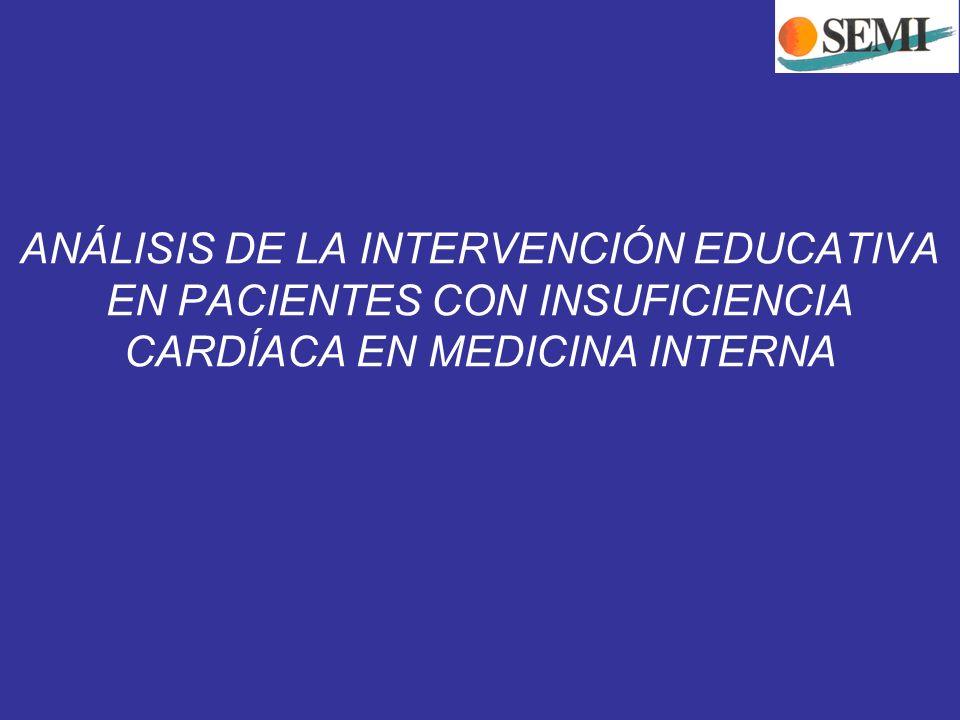 ANÁLISIS DE LA INTERVENCIÓN EDUCATIVA EN PACIENTES CON INSUFICIENCIA CARDÍACA EN MEDICINA INTERNA