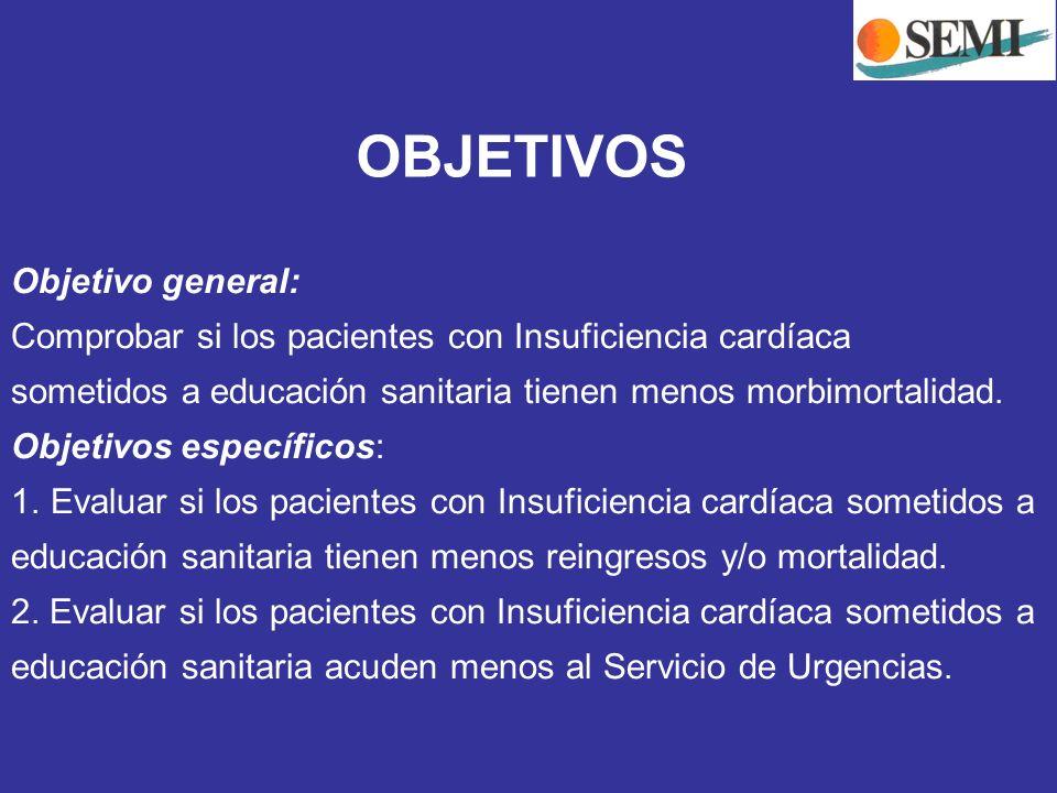 OBJETIVOS Objetivo general: Comprobar si los pacientes con Insuficiencia cardíaca sometidos a educación sanitaria tienen menos morbimortalidad. Objeti