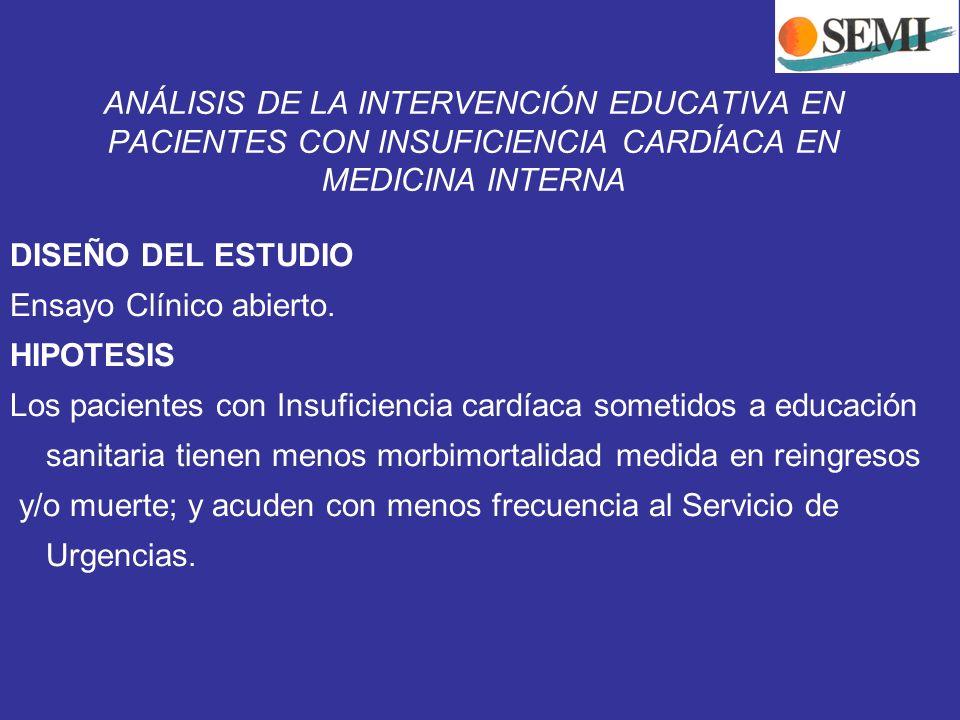 ANÁLISIS DE LA INTERVENCIÓN EDUCATIVA EN PACIENTES CON INSUFICIENCIA CARDÍACA EN MEDICINA INTERNA DISEÑO DEL ESTUDIO Ensayo Clínico abierto. HIPOTESIS