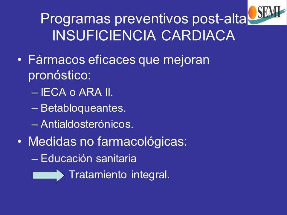 Programas preventivos post-alta INSUFICIENCIA CARDIACA Fármacos eficaces que mejoran pronóstico: –IECA o ARA II. –Betabloqueantes. –Antialdosterónicos