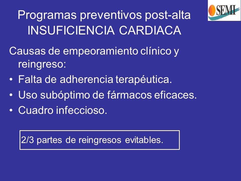 Programas preventivos post-alta INSUFICIENCIA CARDIACA Causas de empeoramiento clínico y reingreso: Falta de adherencia terapéutica. Uso subóptimo de