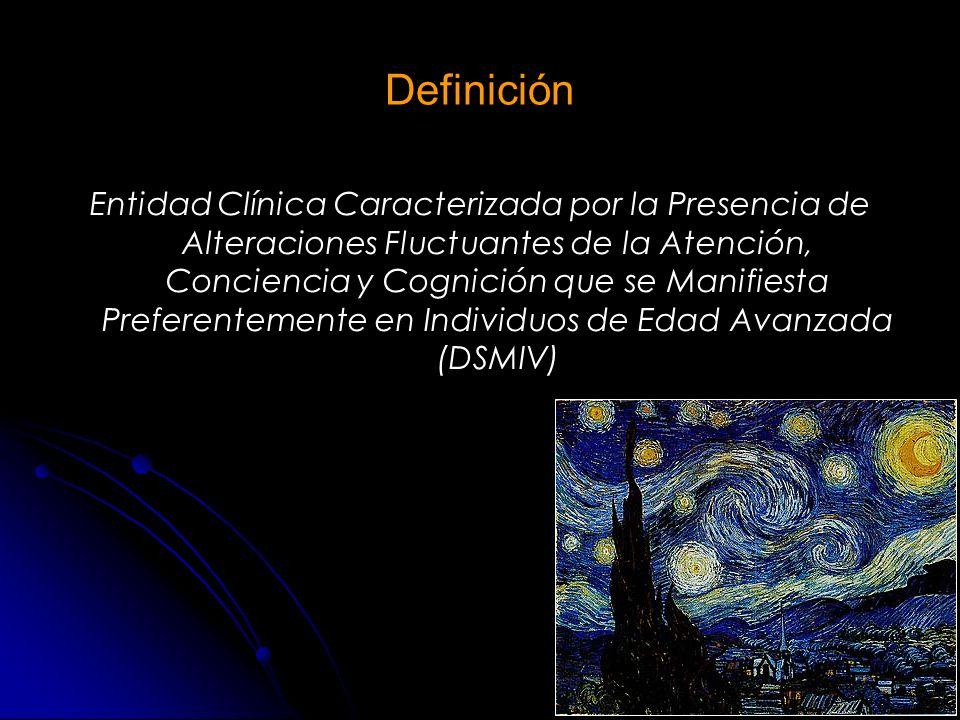 PREVALENCIA DEFINICIÓN, CRITERIOS DIAGNÓSTICOS CAM DRS-98 FACTORES DE RIESGO PREVENCIÓN CONSECUENCIAS Investigación TRATAMIENTO