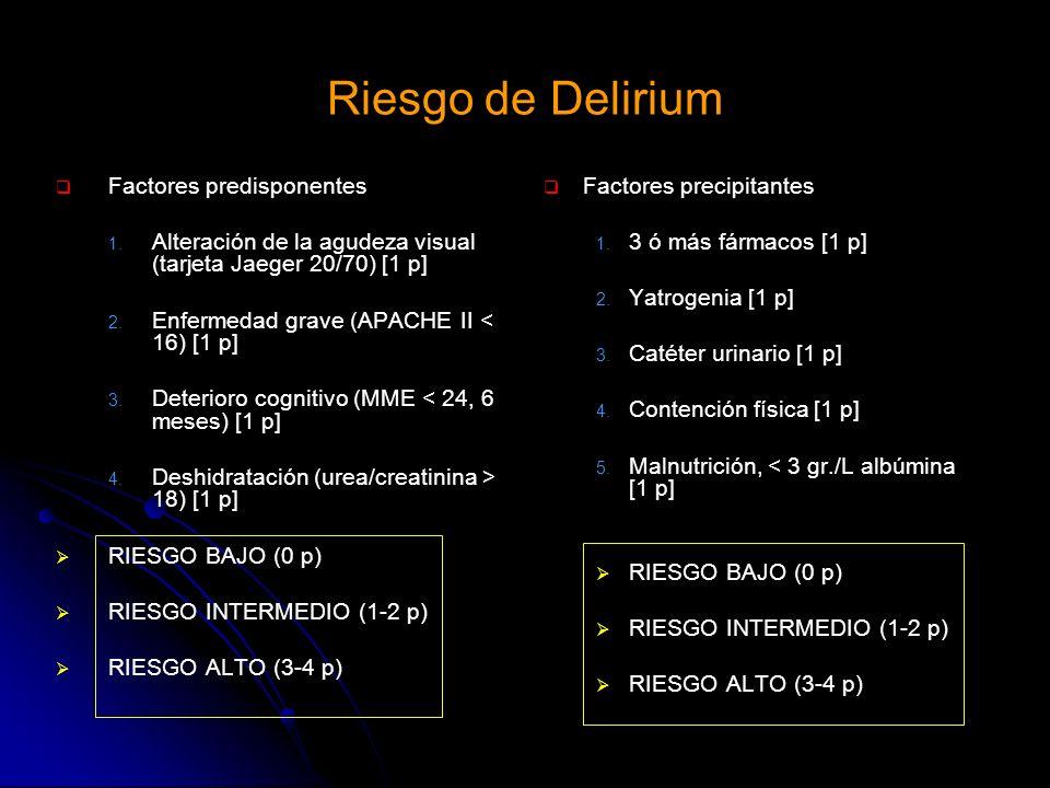 Riesgo de Delirium Factores predisponentes 1. 1. Alteración de la agudeza visual (tarjeta Jaeger 20/70) [1 p] 2. 2. Enfermedad grave (APACHE II < 16)