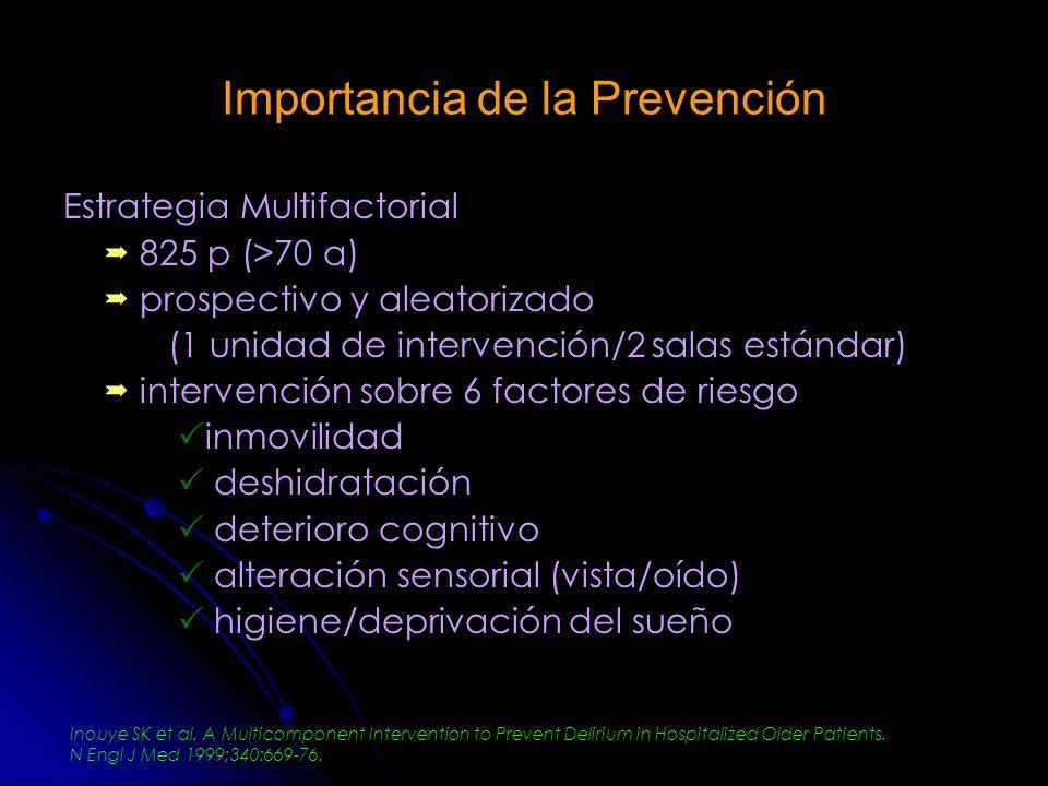 Importancia de la Prevención Estrategia Multifactorial 825 p (>70 a) prospectivo y aleatorizado (1 unidad de intervención/2 salas estándar) intervenci