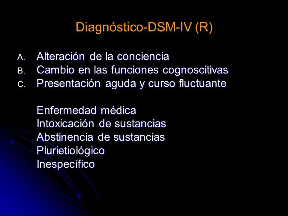 Diagnóstico-DSM-IV (R) A. Alteración de la conciencia B. Cambio en las funciones cognoscitivas C. Presentación aguda y curso fluctuante Enfermedad méd