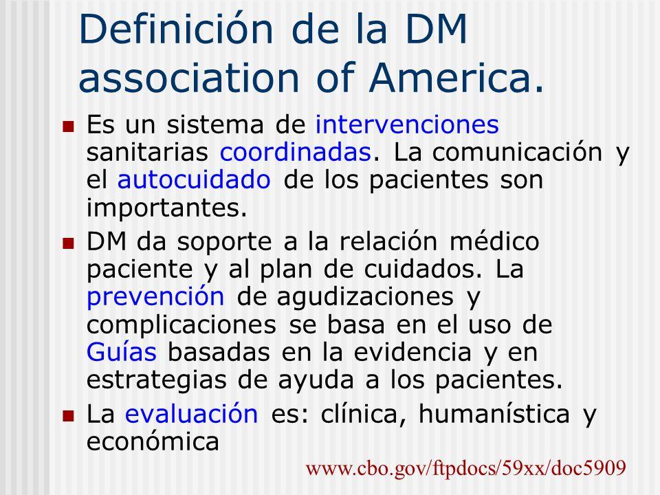 Definición de la DM association of America. Es un sistema de intervenciones sanitarias coordinadas. La comunicación y el autocuidado de los pacientes