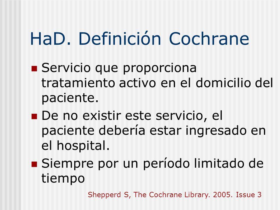HaD. Definición Cochrane Servicio que proporciona tratamiento activo en el domicilio del paciente. De no existir este servicio, el paciente debería es