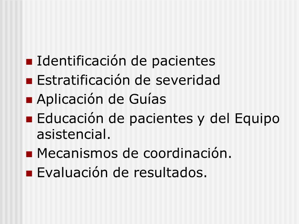 Identificación de pacientes Estratificación de severidad Aplicación de Guías Educación de pacientes y del Equipo asistencial. Mecanismos de coordinaci