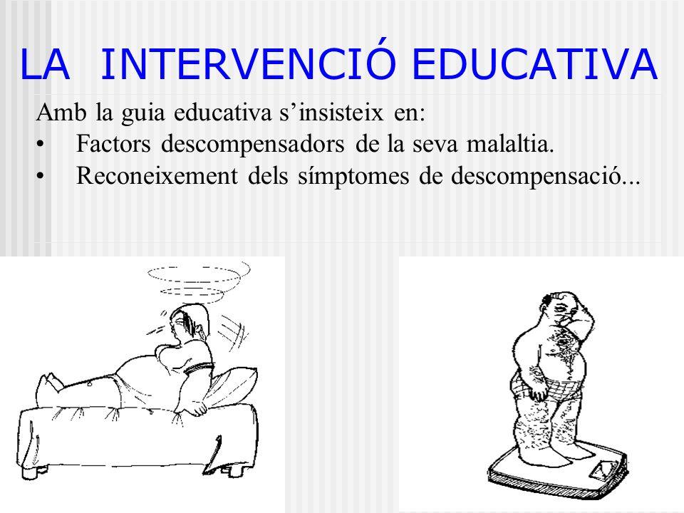 LA INTERVENCIÓ EDUCATIVA Amb la guia educativa sinsisteix en: Factors descompensadors de la seva malaltia. Reconeixement dels símptomes de descompensa