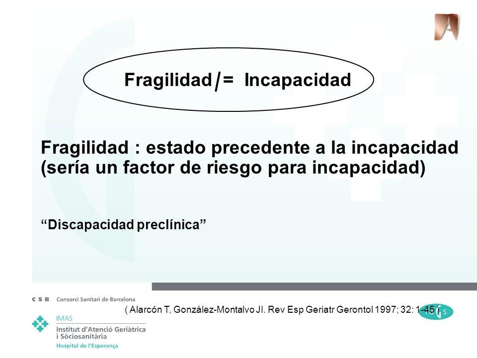 Fragilidad = Incapacidad Fragilidad : estado precedente a la incapacidad (sería un factor de riesgo para incapacidad) Discapacidad preclínica ( Alarcó
