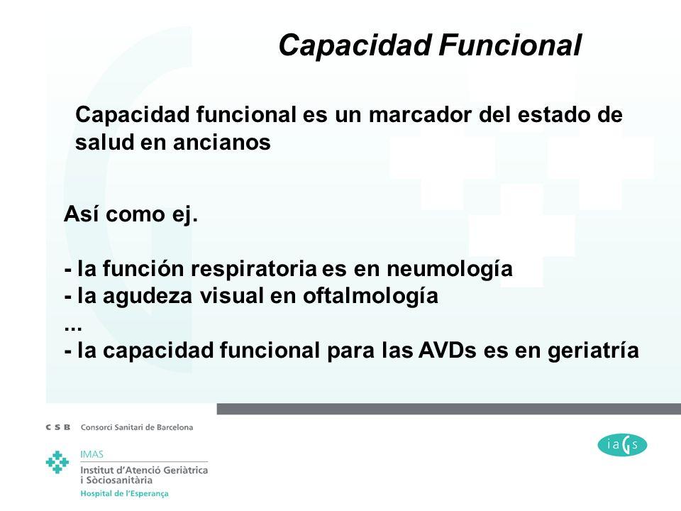 Capacidad funcional es un marcador del estado de salud en ancianos Así como ej. - la función respiratoria es en neumología - la agudeza visual en ofta