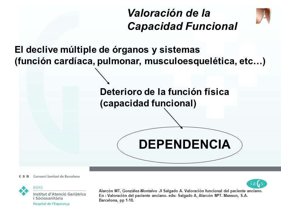El declive múltiple de órganos y sistemas (función cardíaca, pulmonar, musculoesquelética, etc…) DEPENDENCIA Valoración de la Capacidad Funcional Dete