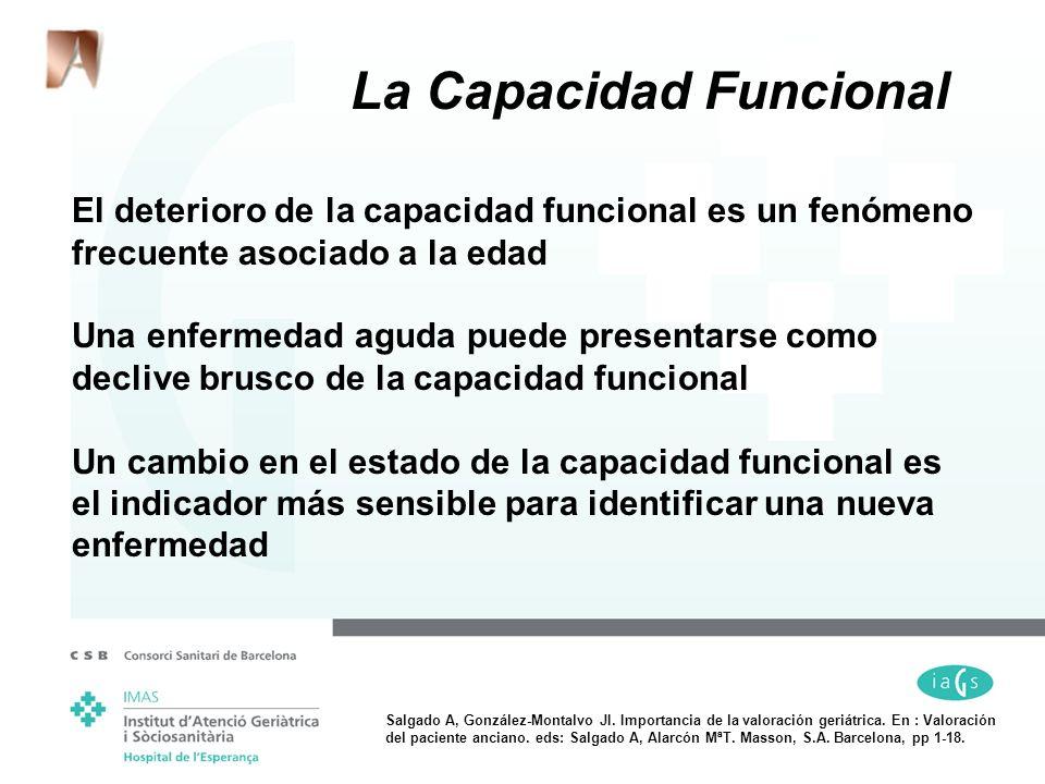El deterioro de la capacidad funcional es un fenómeno frecuente asociado a la edad Una enfermedad aguda puede presentarse como declive brusco de la ca
