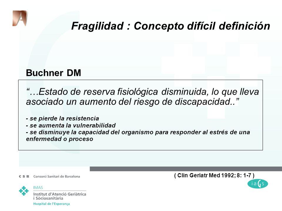 Fragilidad : Concepto difícil definición Buchner DM …Estado de reserva fisiológica disminuida, lo que lleva asociado un aumento del riesgo de discapac