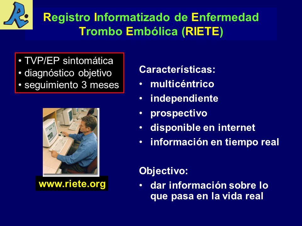 Características: multicéntrico independiente prospectivo disponible en internet información en tiempo real Objectivo: dar información sobre lo que pas