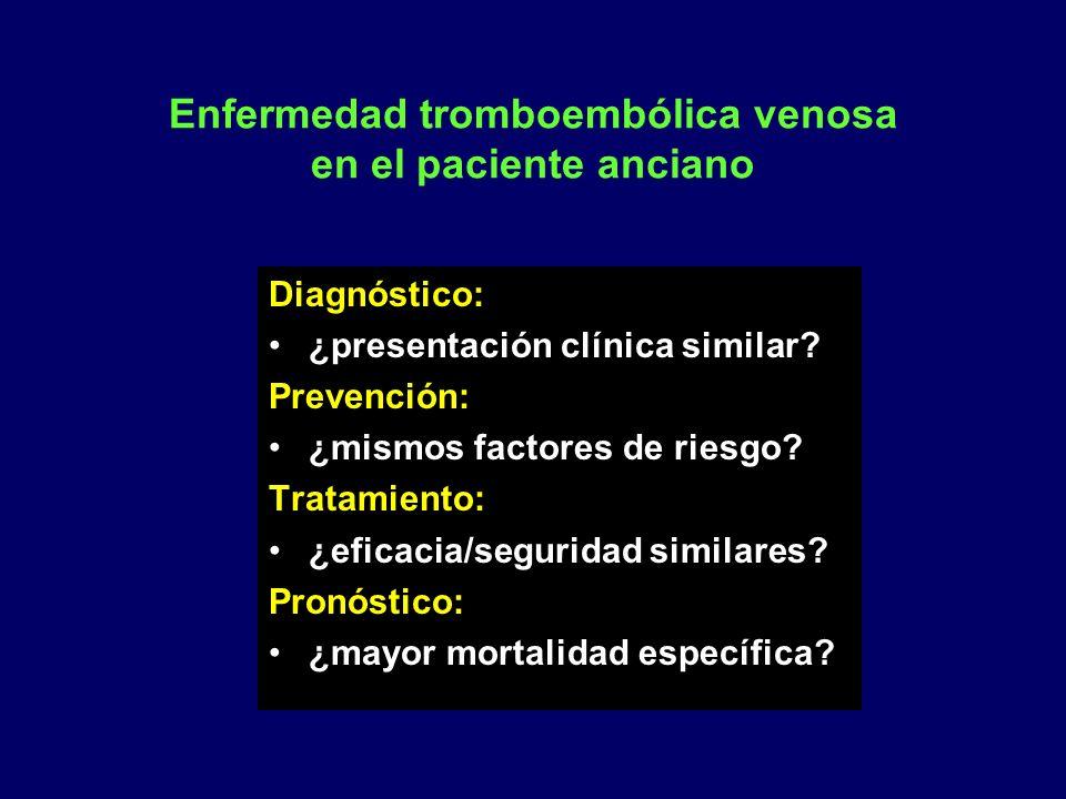 Enfermedad tromboembólica venosa en el paciente anciano Diagnóstico: ¿presentación clínica similar? Prevención: ¿mismos factores de riesgo? Tratamient