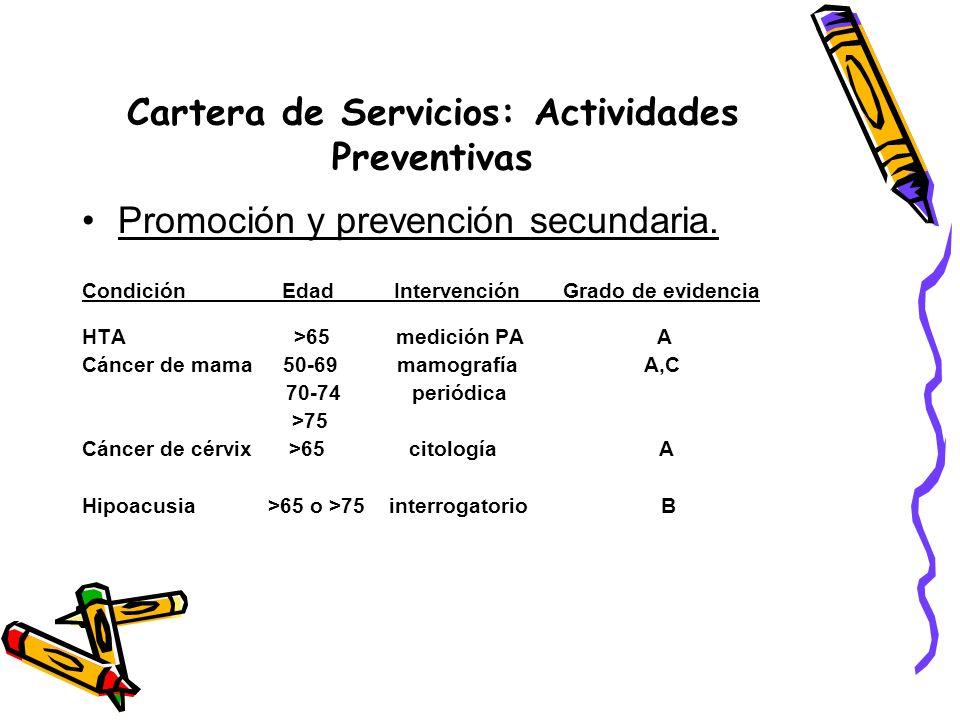 Cartera de Servicios: Actividades Preventivas Promoción y prevención secundaria. Condición Edad Intervención Grado de evidencia HTA >65 medición PA A