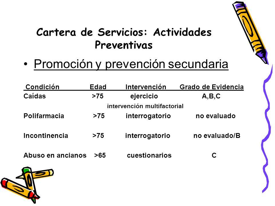 Cartera de Servicios: Actividades Preventivas Promoción y prevención secundaria Condición Edad Intervención Grado de Evidencia Caídas >75 ejercicio A,