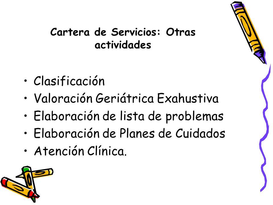Cartera de Servicios: Otras actividades Clasificación Valoración Geriátrica Exahustiva Elaboración de lista de problemas Elaboración de Planes de Cuid