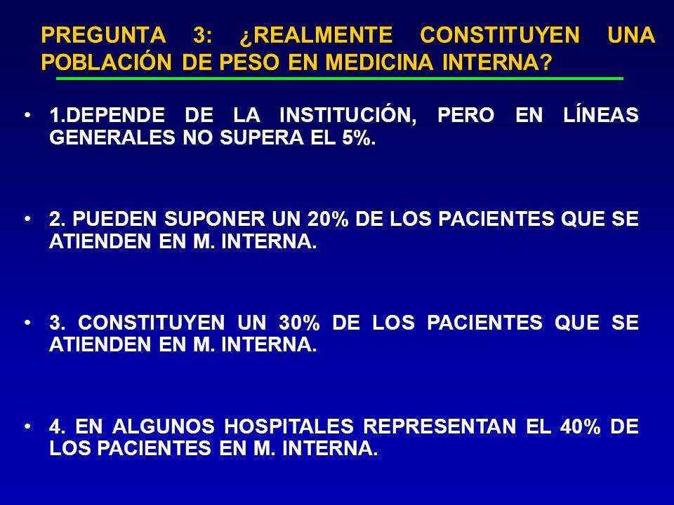 ¿REALMENTE CONSTITUYEN UNA POBLACIÓN DE PESO EN MEDICINA INTERNA? PREGUNTA 3: ¿REALMENTE CONSTITUYEN UNA POBLACIÓN DE PESO EN MEDICINA INTERNA? 1.DEPE
