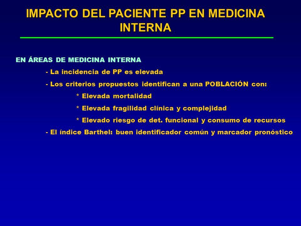 IMPACTO DEL PACIENTE PP EN MEDICINA INTERNA EN ÁREAS DE MEDICINA INTERNA - La incidencia de PP es elevada - Los criterios propuestos identifican a una