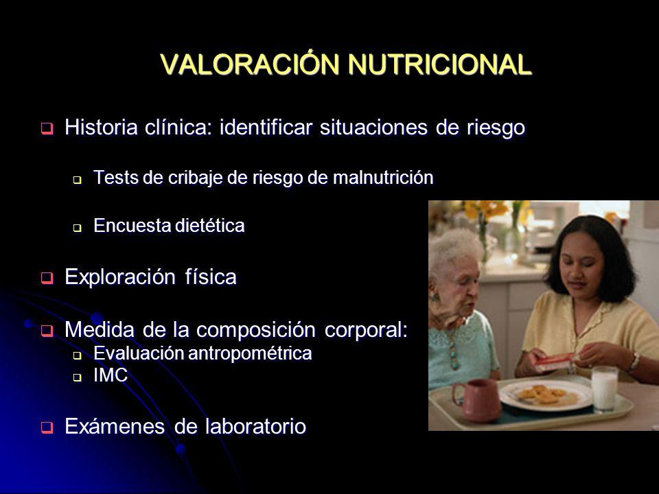 VALORACIÓN NUTRICIONAL Historia clínica: identificar situaciones de riesgo Historia clínica: identificar situaciones de riesgo Tests de cribaje de rie