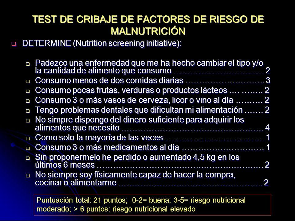 TEST DE CRIBAJE DE FACTORES DE RIESGO DE MALNUTRICIÓN DETERMINE (Nutrition screening initiative): DETERMINE (Nutrition screening initiative): Padezco