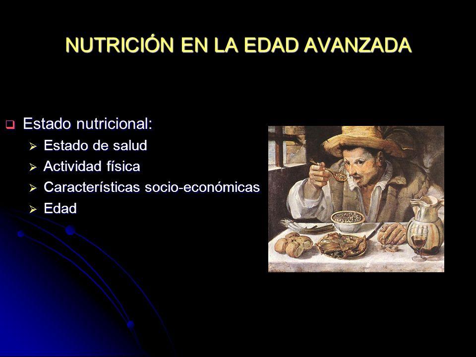NUTRICIÓN EN LA EDAD AVANZADA Estado nutricional: Estado nutricional: Estado de salud Estado de salud Actividad física Actividad física Característica