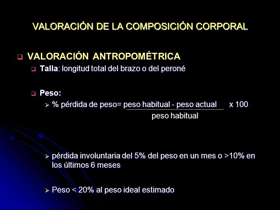 VALORACIÓN DE LA COMPOSICIÓN CORPORAL VALORACIÓN ANTROPOMÉTRICA Talla: longitud total del brazo o del peroné Talla: longitud total del brazo o del per