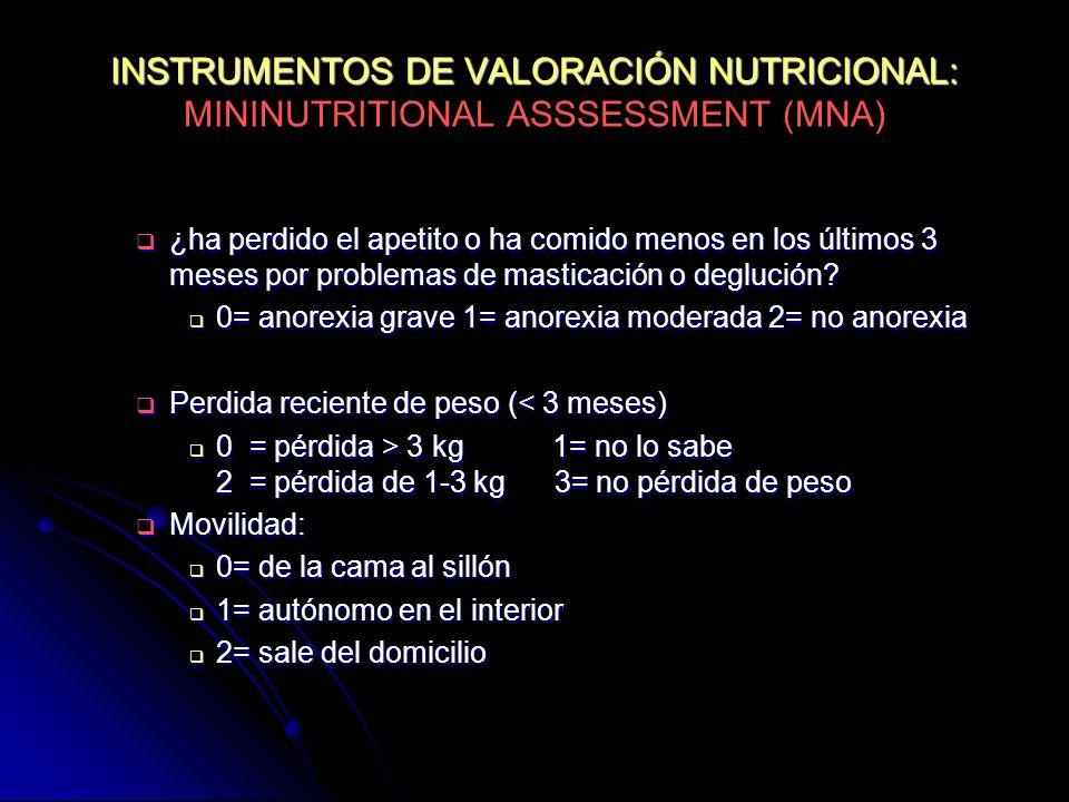 INSTRUMENTOS DE VALORACIÓN NUTRICIONAL: INSTRUMENTOS DE VALORACIÓN NUTRICIONAL: MININUTRITIONAL ASSSESSMENT (MNA) ¿ha perdido el apetito o ha comido m