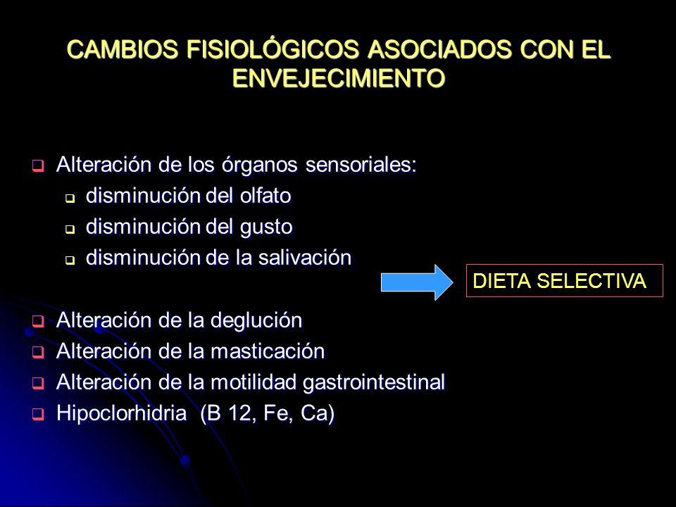 CAMBIOS FISIOLÓGICOS ASOCIADOS CON EL ENVEJECIMIENTO Alteración de los órganos sensoriales: Alteración de los órganos sensoriales: disminución del olf