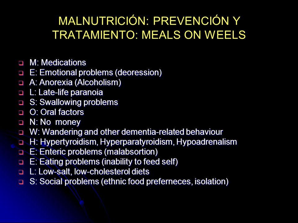 MALNUTRICIÓN: PREVENCIÓN Y TRATAMIENTO: MEALS ON WEELS M: Medications M: Medications E: Emotional problems (deoression) E: Emotional problems (deoress