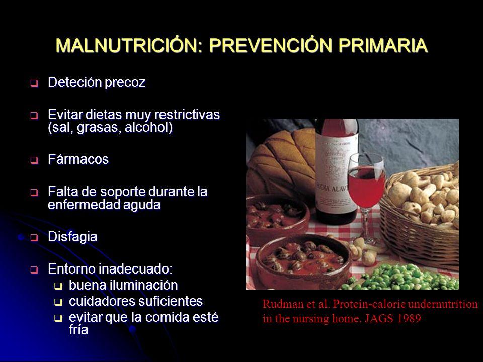 MALNUTRICIÓN: PREVENCIÓN PRIMARIA Deteción precoz Deteción precoz Evitar dietas muy restrictivas (sal, grasas, alcohol) Evitar dietas muy restrictivas