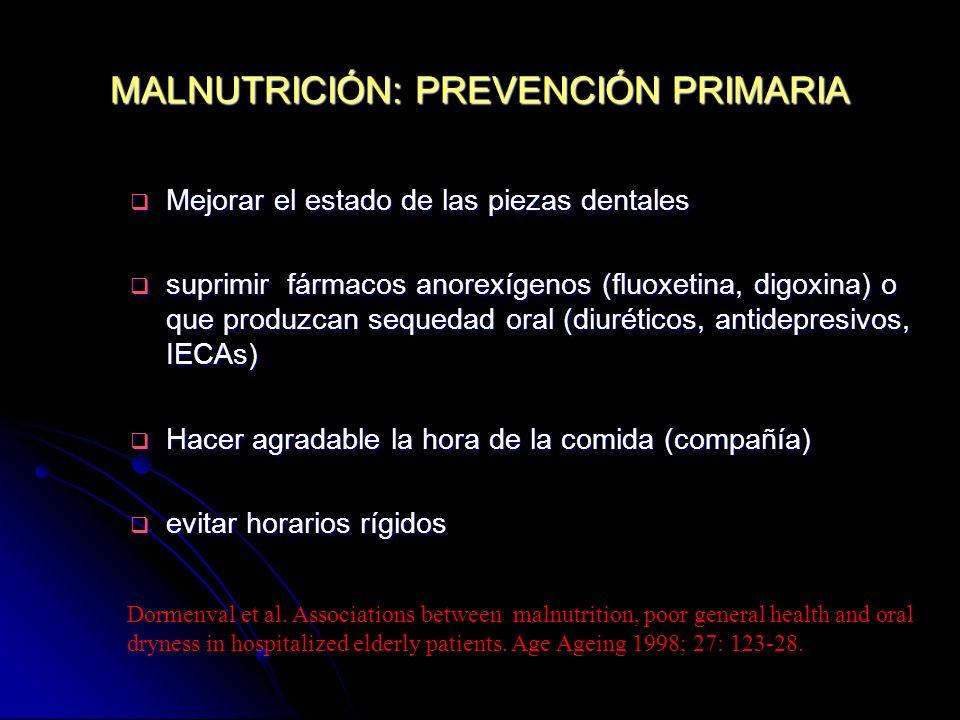 MALNUTRICIÓN: PREVENCIÓN PRIMARIA Mejorar el estado de las piezas dentales Mejorar el estado de las piezas dentales suprimir fármacos anorexígenos (fl