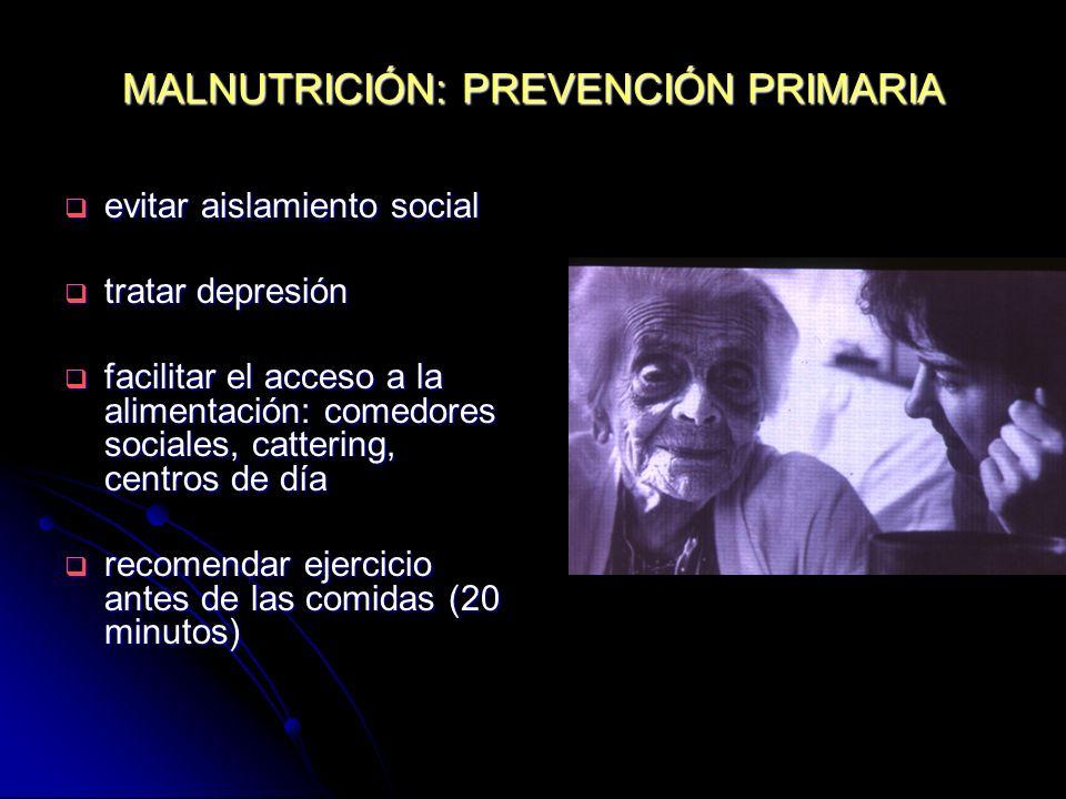 MALNUTRICIÓN: PREVENCIÓN PRIMARIA evitar aislamiento social evitar aislamiento social tratar depresión tratar depresión facilitar el acceso a la alime
