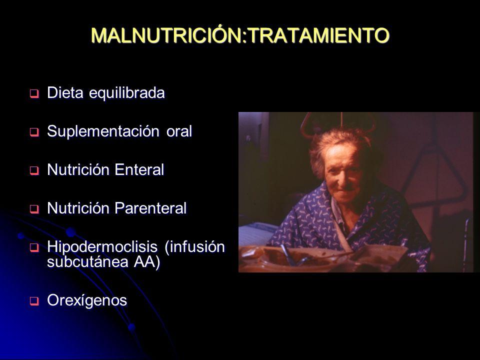 MALNUTRICIÓN:TRATAMIENTO Dieta equilibrada Dieta equilibrada Suplementación oral Suplementación oral Nutrición Enteral Nutrición Enteral Nutrición Par