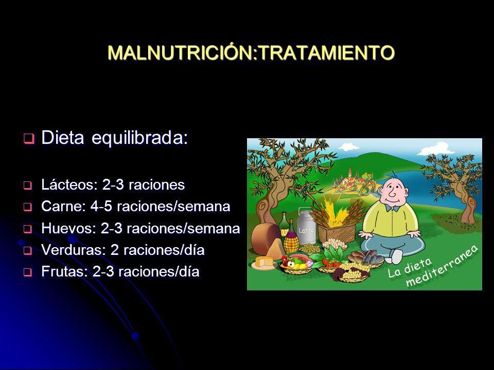 MALNUTRICIÓN:TRATAMIENTO Dieta equilibrada: Dieta equilibrada: Lácteos: 2-3 raciones Lácteos: 2-3 raciones Carne: 4-5 raciones/semana Carne: 4-5 racio