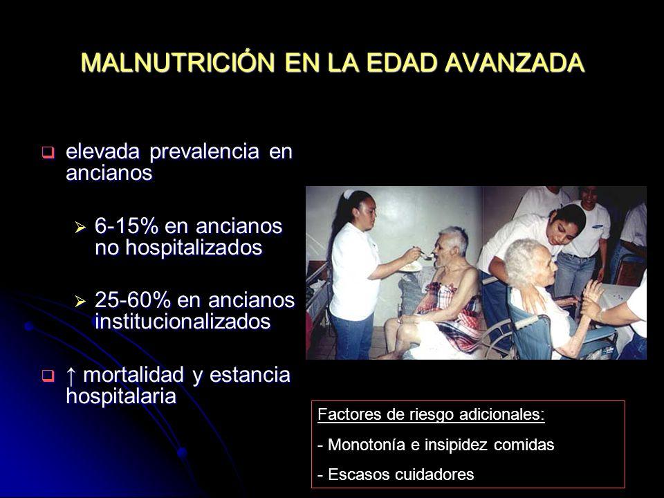 PARAMETROS BIOQUÍMICOS Y HEMATOLÓGICOS albúmina sèrica: t1/2= 20 días albúmina sèrica: t1/2= 20 días 3-3.5 gr/dl= desnutrición leve 3-3.5 gr/dl= desnutrición leve 2.5-3 gr/dl= desnutrición moderada 2.5-3 gr/dl= desnutrición moderada < 2.5 gr/dl= desnutrición severa < 2.5 gr/dl= desnutrición severa transferrina sérica: t 1/2= 8-10 días transferrina sérica: t 1/2= 8-10 días prealbúmina sèrica: t 1/2= 2 días prealbúmina sèrica: t 1/2= 2 días proteína ligada al retinol: t 1/2= 10 horas proteína ligada al retinol: t 1/2= 10 horas recuento limfocitario: < 1.500/ mm3 recuento limfocitario: < 1.500/ mm3 creatinína: mal índice de nutrición (disminució de la massa muscular) creatinína: mal índice de nutrición (disminució de la massa muscular) Colesterol < 160 mg/dl Colesterol < 160 mg/dl
