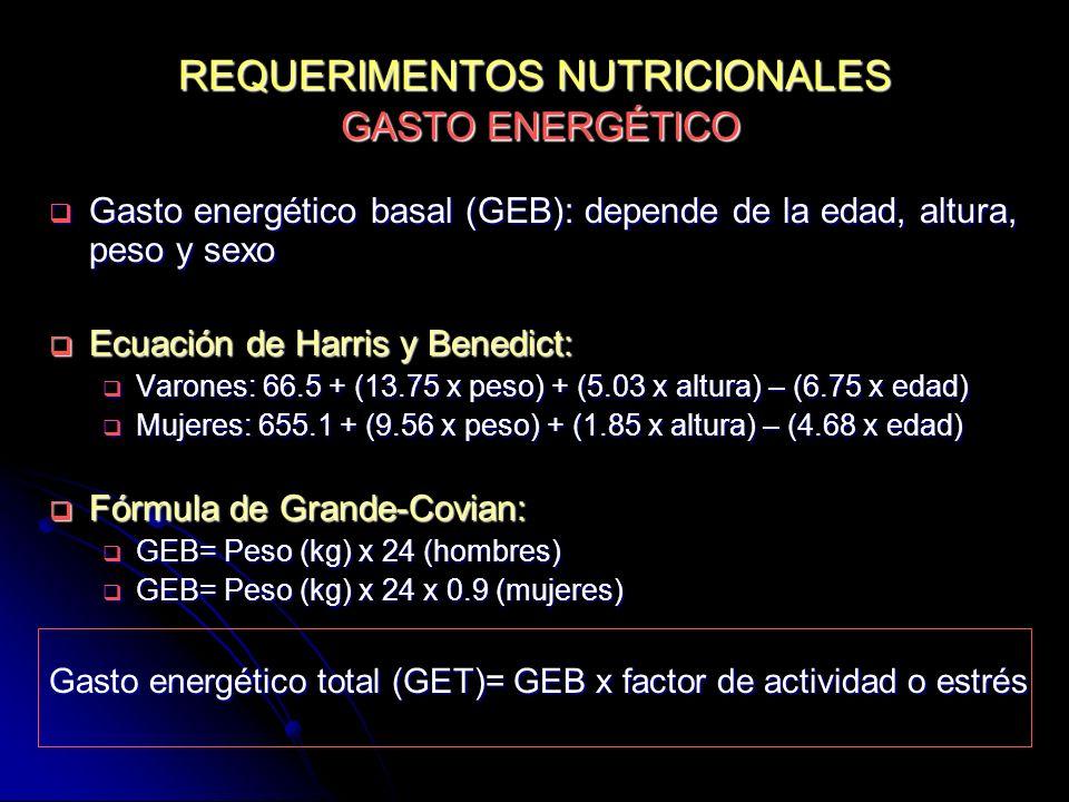 REQUERIMENTOS NUTRICIONALES GASTO ENERGÉTICO Gasto energético basal (GEB): depende de la edad, altura, peso y sexo Gasto energético basal (GEB): depen