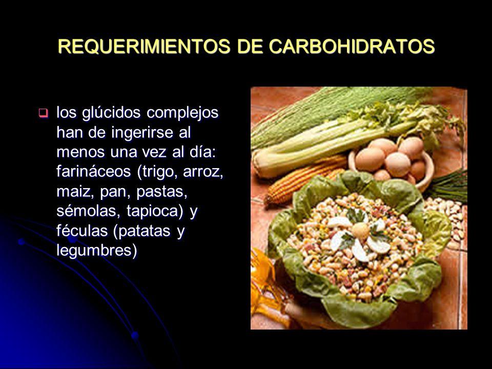REQUERIMIENTOS DE CARBOHIDRATOS los glúcidos complejos han de ingerirse al menos una vez al día: farináceos (trigo, arroz, maiz, pan, pastas, sémolas,