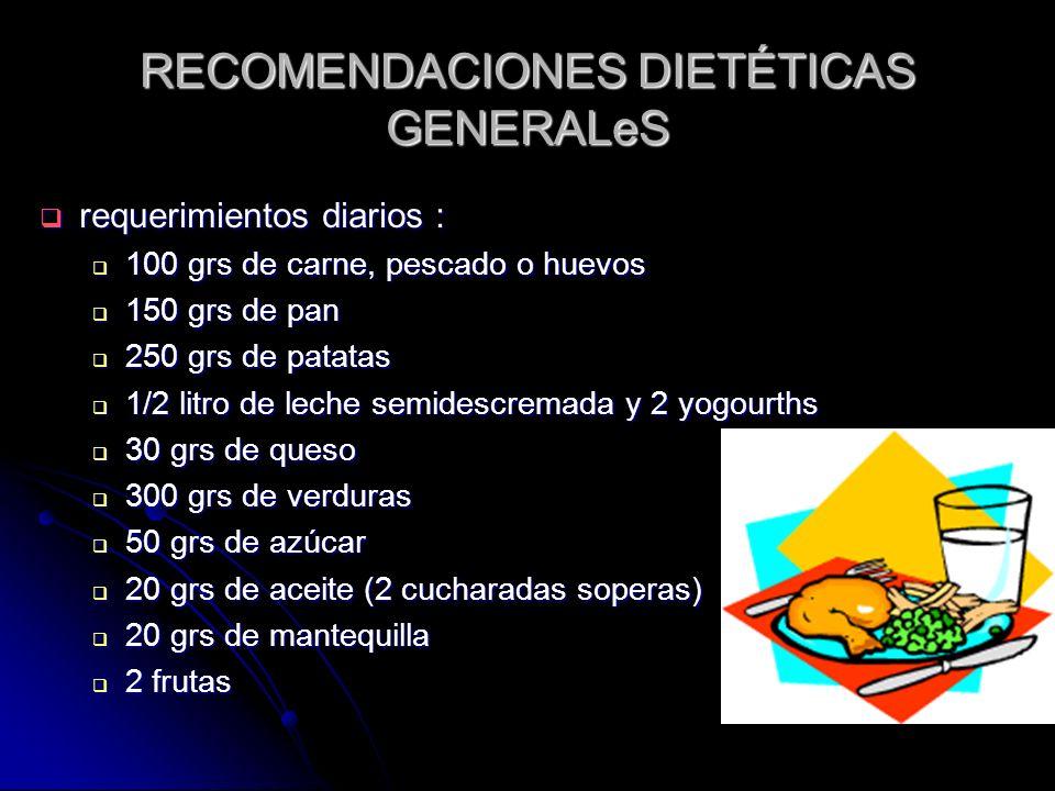 RECOMENDACIONES DIETÉTICAS GENERALeS requerimientos diarios : requerimientos diarios : 100 grs de carne, pescado o huevos 100 grs de carne, pescado o