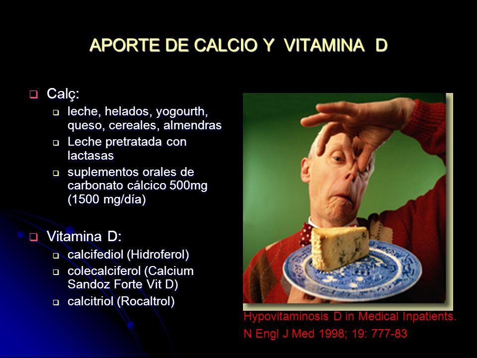 APORTE DE CALCIO Y VITAMINA D Calç: Calç: leche, helados, yogourth, queso, cereales, almendras leche, helados, yogourth, queso, cereales, almendras Le