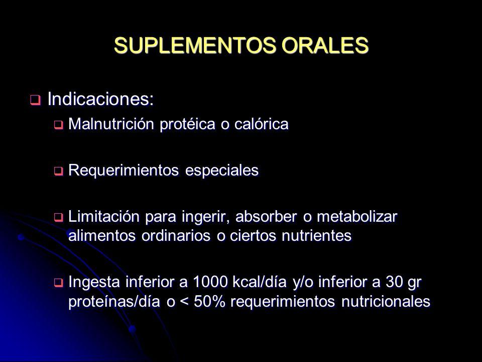 SUPLEMENTOS ORALES Indicaciones: Indicaciones: Malnutrición protéica o calórica Malnutrición protéica o calórica Requerimientos especiales Requerimien