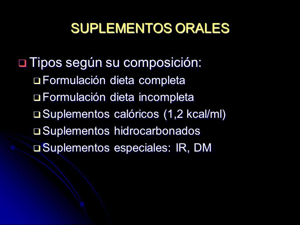 SUPLEMENTOS ORALES Tipos según su composición: Tipos según su composición: Formulación dieta completa Formulación dieta completa Formulación dieta inc